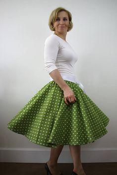 Green polka dot full circle skirt for women rockabilly skirt