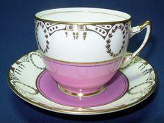 Vintage Tea Cup and Saucer PURPLE WHITE Gold Bone China England Art Deco. $30.00, via Etsy.