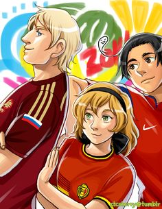2014 FIFA World Cup: Russia, Belgium, and South Korea - Art by ctcsherry.tumblr.com - That's it for this set! Obviously, there are more participating nations than what's been seen in this series, but the artist only covered those that had official Hetalia designs.