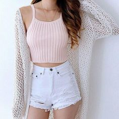 blush ribbed spaghetti crop, waisted sky frayed-hem denims, knit creamy cardigan, waistlength dark hair, lightly tanned skin