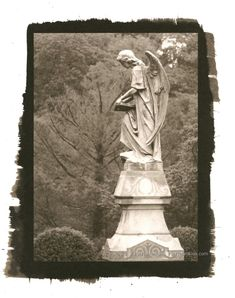 "Graveyard Angel, Rock Creek Cemetery, Washington DC Palladium Toned Kallitype   © 2018 Patty Hankins  Palladium Toned Kallitype of a graveyard angel at Rock Creek Cemetery in Washington, DC  One of a kind print, matted in a single white mat to 11""X14"""