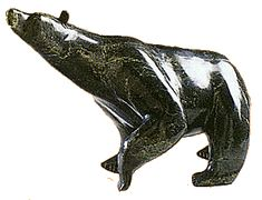"Soapstone Carving Jimmy Peetooloosie, ""Bear."" Soapstone. Cape Dorset, Northwest Territories. 22"" x 12"" x 14"""