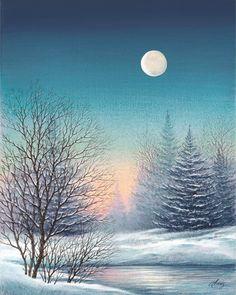 Looks like a wintery iowa night to me Watercolor Landscape, Landscape Art, Landscape Paintings, Watercolor Art, Landscape Photography, Night Photography, Landscape Photos, Winter Painting, Winter Art