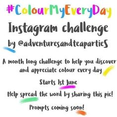 This looks like fun! regram @adventuresandteaparties Yay I can finally reveal the creative project I've been working on ta-da!  So being a big fan of colour I've been looking for a colourful Instagram challenge to encourage me to really seek out colour but could I find one to join in on? No I couldn't  I then had a  moment and thought why don't I just create one!   If you like colour Instagram challenges or both then come and join me on 1st June to look for colour every day throughout June…