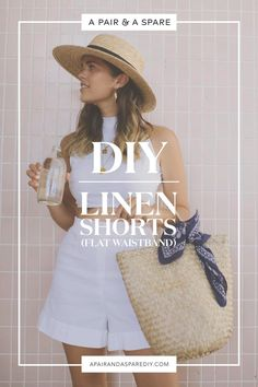 DIY Linen Shorts with Flat Waistband (part of a top and shorts set!)