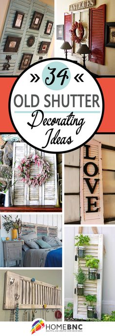 Shutter decor Old shutters Diy shutters Easy home decor Shutters repurposed Shutter Shelf, Shutter Decor, Window Shutter Crafts, Shutter Door Ideas, Louvered Door Ideas, Shutter Table, Repurposed Furniture, Diy Furniture, Furniture Projects