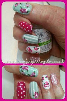 Cath kidston style gelish nail art Gelish Nails, Cath Kidston, Fingers, Swatch, Nail Designs, Hair Beauty, Make Up, Nail Art, Fancy