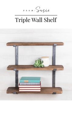 My Living Room, Living Room Decor, Living Room Wall Shelves, Shelf Ideas For Living Room, Farmhouse Decor, Farmhouse Living Rooms, Farmhouse Shelving, Wood Wall Shelf, Diy Wall Shelves