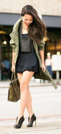 Olive Long Anorak Outfit Idea by Wendy's Lookbook
