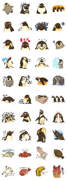 Idk about the last 2 lines but I almost died of cuteness overload on the others Pinguin Drawing, Pinguin Tattoo, Penguin Bird, Penguin Love, All About Penguins, Cute Penguins, Penguin Pictures, Line Sticker, Illustrations
