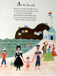Vintage 1951 Lithograph Alice and Martin Provensen Large Childrens Book Illustration, At the Seaside.