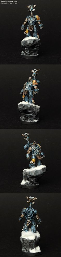 I've wanted to create conversion like this since Space wolves 13th Company. Werewolf in Space Marine Power Armor. Just love the idea! This beast is howling to the moon like the image on his shoulde...