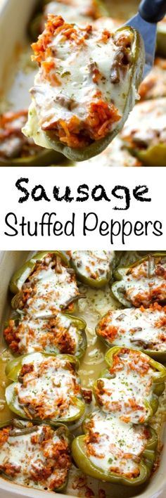 easy, but flavorful version of a summer favorite! These sausage stuffed peppers utilize a lot of leftovers that may be hanging out in your fridge to make a simple summer meal. Yummy Recipes, Pork Recipes, Great Recipes, Dinner Recipes, Cooking Recipes, Favorite Recipes, Healthy Recipes, Healthy Dinners, Healthy Habits