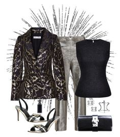 """Oscar de la Renta Metallic Brocade Jacket Look"" by romaboots-1 ❤ liked on Polyvore featuring MSGM, Hermès, Bling Jewelry, Tom Ford, Oscar de la Renta and Mary Katrantzou"