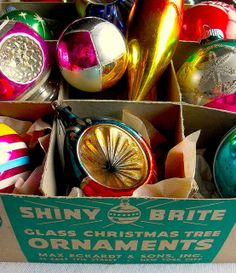 1950s christmas decorations | 1940s - 1950s Vintage Christmas Ornaments SHINY BRITE BOX by Christian ...