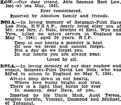 Auckland Star 7/05/1943 Killed In Action, In Loving Memory, Auckland, Family History, Memories, Star, Memoirs, Souvenirs, In Remembrance