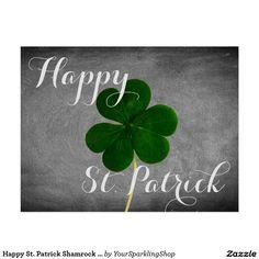 Happy St. Patrick Shamrock Chalkboard Typography Card