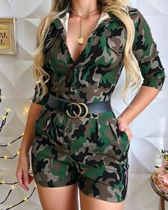 Green Camouflage Print Pockets Buttons Belt Turndown Collar V-neck Elbow Sleeve Work Casual Short Jumpsuits - Short Jumpsuit, Casual Jumpsuit, Short Overalls, Look Fashion, Fashion Outfits, Womens Fashion, Fashion Design, Rompers Women, Work Casual