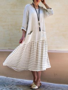 57cdf4afca  US 29.99 50% OFF  Women Striped Boho Long Sleeve Vintage Loose Patchwork  Swing Maxi Dress Women s Clothing from Clothing and Apparel on banggood.com
