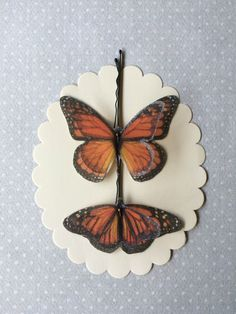 Soft - Handmade Cotton and Silk Organza Monarch Butterflies Hair Bobby Pins - 2 pieces by TheButterfliesShop on Etsy