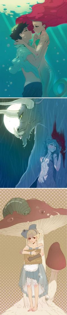 Disney Classics as Anime: Little Mermaid, Beauty and the Beast, Alice in Wonderland and more. | moviepilot.com #DisneyAnime #Ariel #Beast