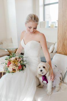 The downright sweetest flower pup: http://www.stylemepretty.com/pennsylvania-weddings/philadelphia/2015/12/11/styled-snapshots-kendall-johnsons-timeless-feminine-autumn-wedding/ | Photography: David Jenkins - http://davidjenkinsphotography.com/