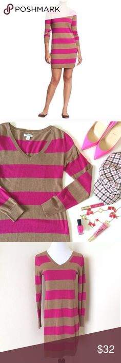 Fuchsia & Camel Stripe V-Neck Sweater Dress XS Old Navy fuchsia hot pink & camel striped v-neck long-sleeve sweater dress. Size extra small. Great pre-owned condition. No holes, stains, etc. Only minor signs of wear can be observed near friction points (e.g. under the arms.) Medium-weight soft knit. Hits at thigh. The fabric has lots of give. Best fit for XS or S. I typically wear S or M, but the XS works just fine w/ tights underneath, due to the gentle stretch and flattering design…