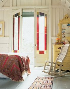 Sarah falls head over heels for the Oak Bluffs Gingerbread Cottages that she discovered while researching Victorian era historic renovation. Stained Glass Door, Leaded Glass, Glass Doors, Interior Exterior, Interior Design, Interior Doors, Oak Bluffs, Ideas Para Organizar, Windows And Doors