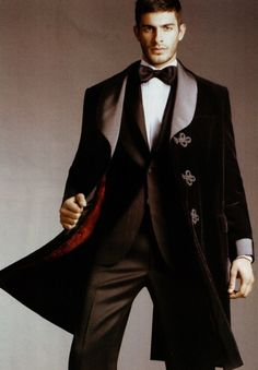 Velvet topcoat! A dapper Dr Who, or Sherlock Holmes, could do this. Better yet, so could Professor Moriarty.