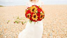 A Bright Boho Beach Shoot  Photography: Jane Mires Photography // Florist: Ladybird Flowers // Dress: Charlotte Casadejus at Blackburn Bridal // Hair & Makeup: Mel Kinsman // Dessert Jars: Angels on Horseback