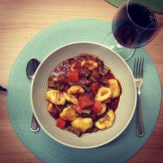 Potato gnocchi with tomato soup
