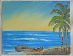 Tropical Folk Art Naive Vintage Painting Dream Beach Seascape Boat Palm Lucille #naive