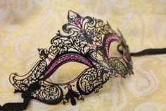 Charming Pink Princess Laser-cut Venetian Mardi Gras Masquerade Mask with Sparkling Pink Rhinestones