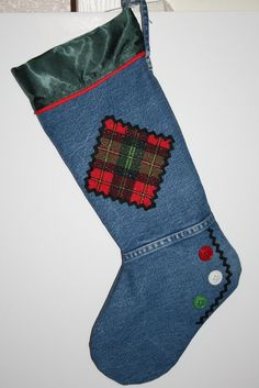 Denim Christmas Stocking recycled jeans plaid by MissTiasTreasures, $22.50