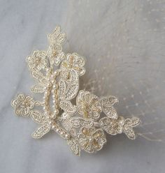 Golden Champagne Birdcage Veil and Lace Bridal by TheRedMagnolia, $66.00