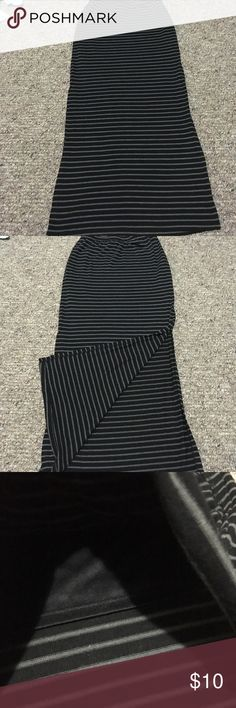 Gray and black maxi skirt with slits Lily white brand. Size small. Great condition. Slits up both sides to knee. Will be cleaned before shipping as all my clothes are endless thy are new. Lily White Skirts Maxi