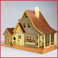 """Gottschalk Red Roof Dollhouse with Garage 1930 3/4"""" Scale from curleycreekantiques on Ruby Lane"""