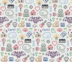 Cross stitch coolness fabric by richheartpixels on Spoonflower - custom fabric