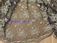 Gold metallic one black mesh embroidered lace by Randyfabrics
