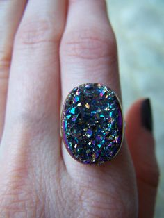 Rainbow Titanium Druzy Ring, $28.00