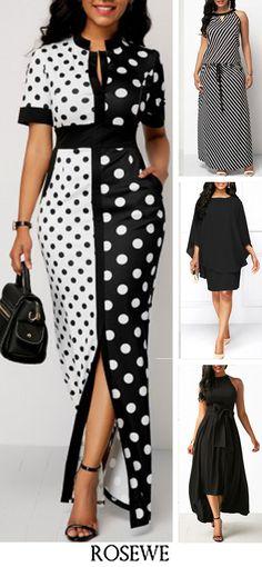 Polka Dot Print Front Slit High Waist Dress.#Rosewe#black#dress#womensfashion