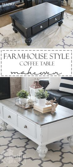 Farmhouse style coffee table makeover. How to update an old coffee table into a…