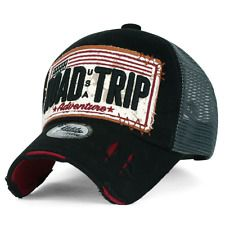 8708b94ffea ililily ROAD TRIP Vintage Distressed Snapback Trucker Hat Baseball Cap Mens Trucker  Hat