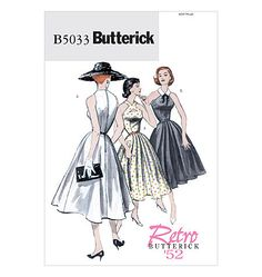 1950s Inspired Misses Dress Sewing Pattern, Halter, Keyhole Neckline, Flared Skirt, Reissue of 1952 Butterick 5033 sizes  6, 8, 10, 12 uncut