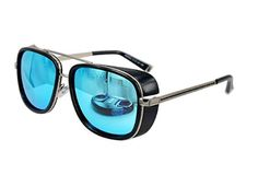 Unisex Retro Side Shields Steampunk Sunglasses in Blue Reflective
