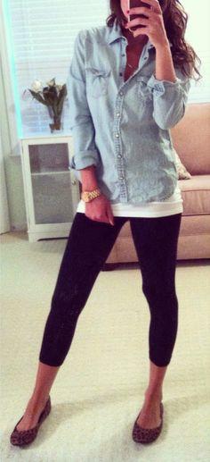 So simple.  Denim button down, white tank, black leggings, leopard shoe.