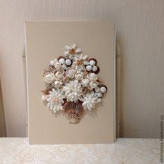 Купить Картина из ракушек. Букет цветов из ракушек - картина из ракушек, цветы в вазе