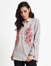 Flaunt it in this bold and beautiful grey and white striped shirt from Lipsy. This shirt features embroidered detail to the front. This must-have can be teamed with a pair of slim fit trousers and heels.