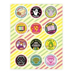 These feminist stickers are perfect for the 20-something girl who knows she's earned these funny merit badges: burrito queen, ghost friend, potion maker, home girl, pizza freak, book babe, fight me, true believer, guac n' roll, vampire slayer, honorary mermaid and fucking flawless.