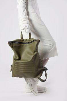 "Olive green minimal, unisex big backpack - rucksack. Zip fastener, inside pocket, 100% Italian leather. Perfectly fits 15"" Macbook, made in Europe."